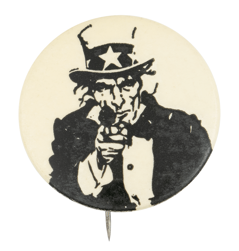 Uncle Sam with a Gun Political Button Museum