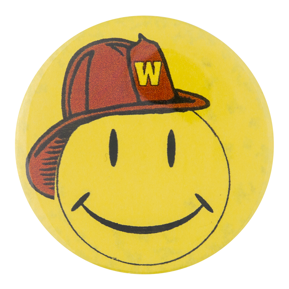 Walmart Smiley In Firehat Busy Beaver Button Museum