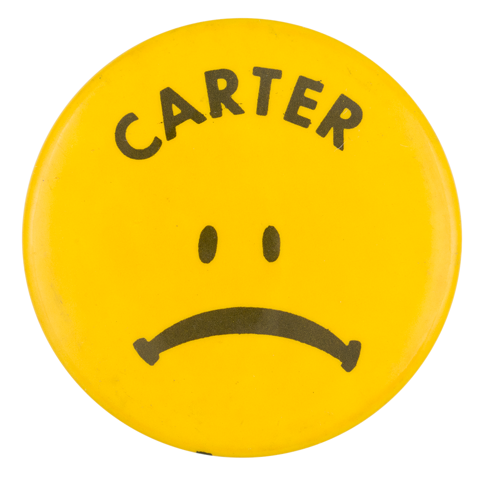 carter sad face detroit badge busy beaver button museum