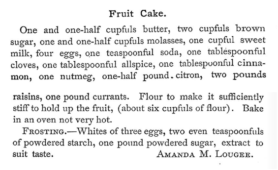 Text of Lougee's fruitcake recipe