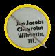 Joe Jacobs Chevrolet Smiley button back Smileys Button Museum