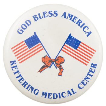 God Bless America Kettering Advertising Busy Beaver Button Museum