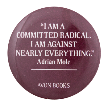 Adrian Mole Advertising Button Museum