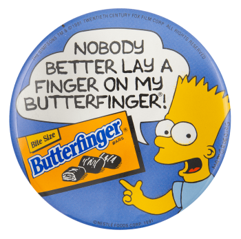 Butterfinger Bart Simpson Advertising Button Museum