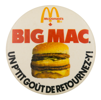 McDonald's Big Mac Advertising Button Museum