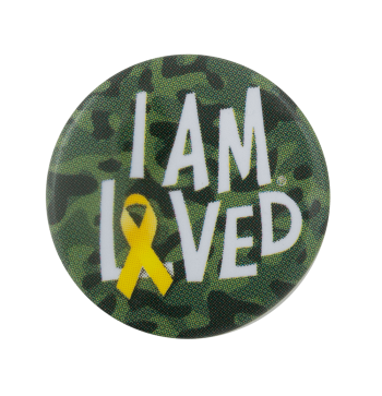 I Am Loved Camo Advertising Busy Beaver Button Museum