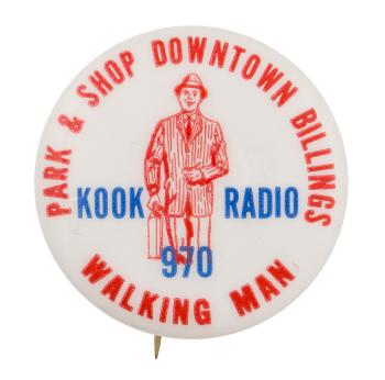 Kook Radio Advertising Button Museum