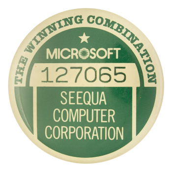 Microsoft Seequa Computer Corporation Advertising Button Museum