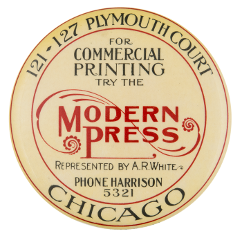 Modern Press Advertising Button Museum