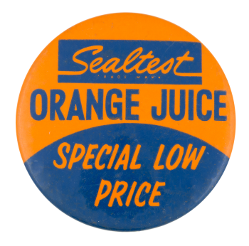 Sealtest Orange Juice Advertising Button Museum