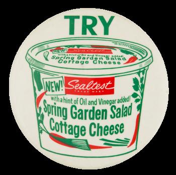 Sealtest Spring Garden Salad Cottage Cheese Advertising Button Museum