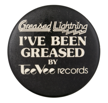 Tee Vee Records Greased Advertising Button Museum