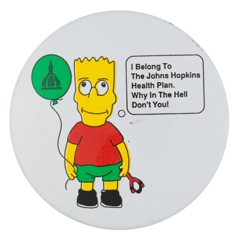 The Johns Hopkins Health Plan Advertising Button Museum