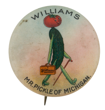 Williams Mr. Pickle Advertising Button Museum