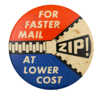 Zip Mail Advertising Button Museum