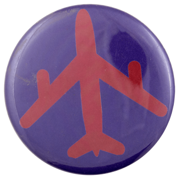 Airplane Red and Purple Art Busy Beaver Button Museum