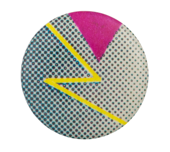 Abstract Yellow Zig Zag Art Button Museum