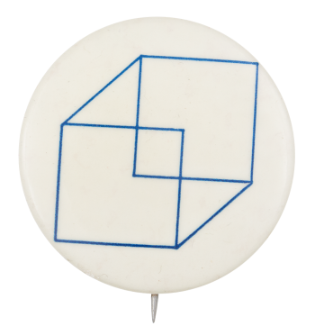 Blue and White Cube Art Button Museum