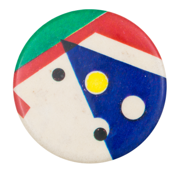 Blue Triangle on White Green and Red Art Button Museum