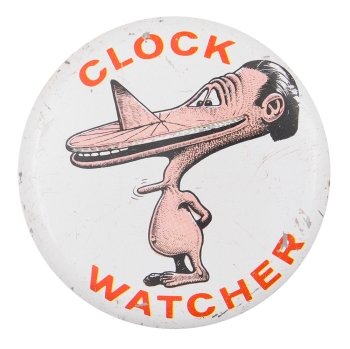 Basil Wolverton Clock Watcher Art Button Museum