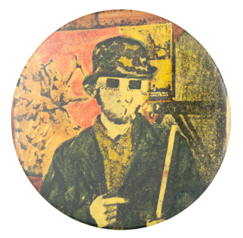 Illustration of a Man Art Button Museum