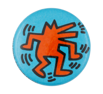 Keith Haring Dancing Barking Dog Art Button Museum