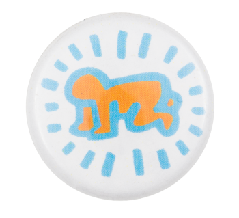 Keith Haring Radiant Baby Orange Art Button Museum