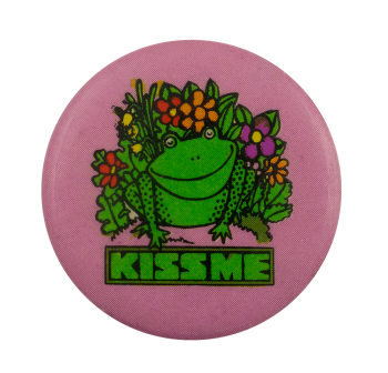 Kiss Me Frog and Flowers Ice Breakers Busy Beaver Button Museum