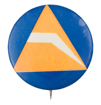 Orange Triangle On Blue Art Button Museum