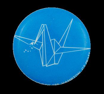 Origami Crane Blue Art Button Museum