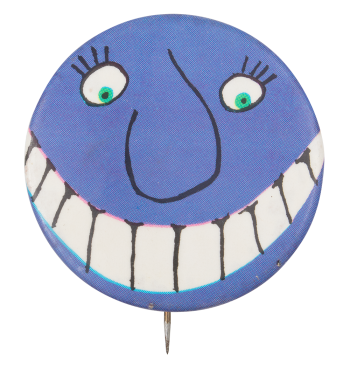 Purple Face With Grin Art Button Museum