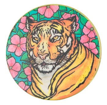 Tiger With Flowers Art Button Museum