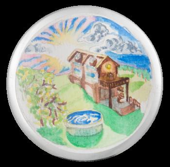 Watercolor Landscape Art Button Museum