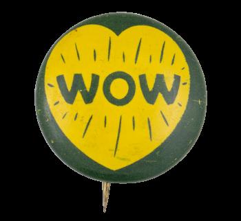 Wow Yellow Heart Art Button Museum