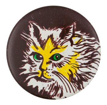 Yellow Cat With Green Eyes Art Button Museum