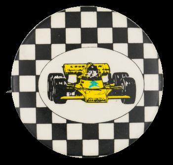 Yellow Race Car Art Button Museum