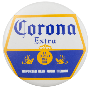 Corona Extra Shield Beer Busy Beaver Button Museum