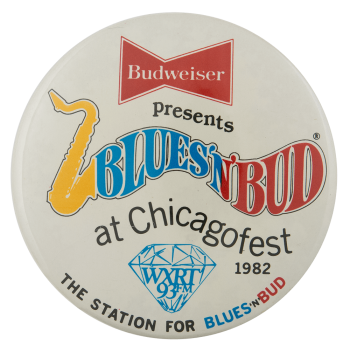 Blues N Bud Beer Busy Beaver Button Museum