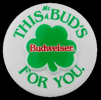 Budweiser 3D Shamrock Beer Busy Beaver Button Museum