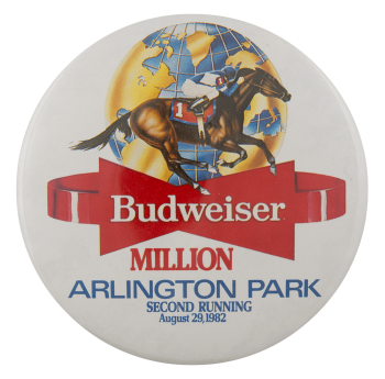 Budweiser Arlington Million 1982 Beer Busy Beaver Button Museum