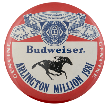 Budweiser Arlington Million Beer Busy Beaver Button Museum