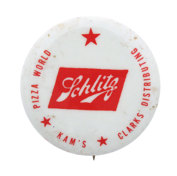 Schlitz Pizza World Beer Button Museum
