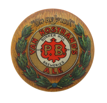 Van Nostrand's Ale Bunker Hill Breweries Beer Button Museum
