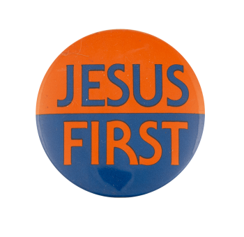 Jesus First Cause Busy Beaver Button Museum
