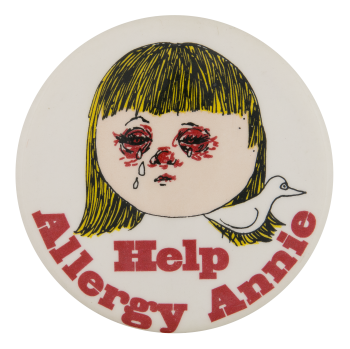Help Allergy Annie Advertising Button Museum