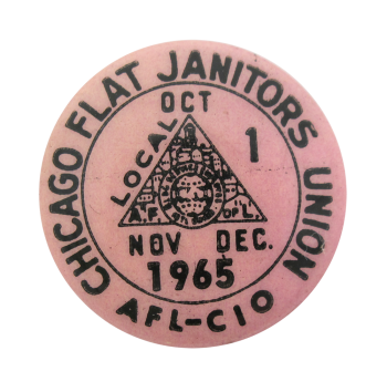 Chicago Flat Janitors Union button back Chicago Button Museum