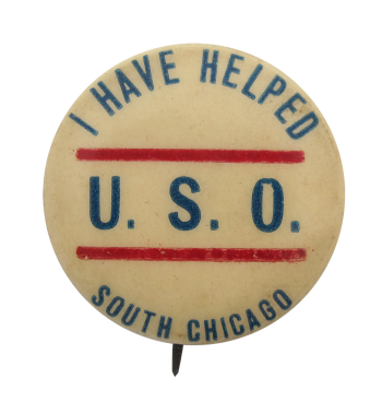 U.S.O South Chicago button Chicago Button Museum