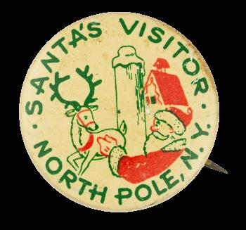 Santa's Visitor North Pole Club Button Museum