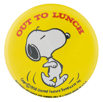 Snoopy Out to Lunch Entertainment Button Museum