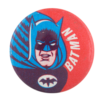 Batman On Red Background Entertainment Button Museum